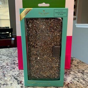 NWT Authentic Kate Spade Glitter iPhone Folio Case